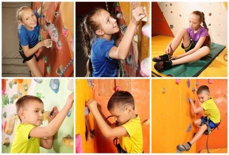 Foto de Collage con niños en gimnasio de escalada - Imagen libre de derechos