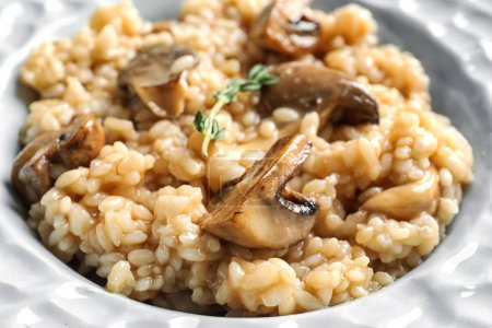 Plate with delicious risotto and mushroom