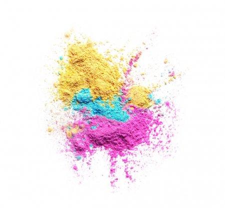 Photo pour Poudres colorées pour le festival Holi sur fond blanc - image libre de droit