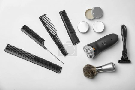 Shaving accessories for man on white background