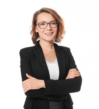 Beautiful real estate agent on white background