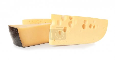 Different cheeses on white background