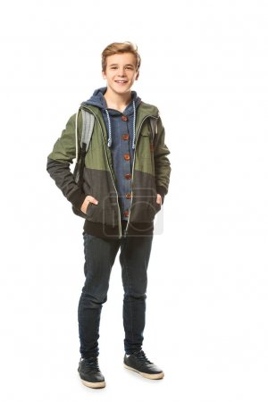Cool teenage boy on white background