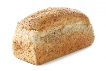 Loaf of freshly baked bread on white background