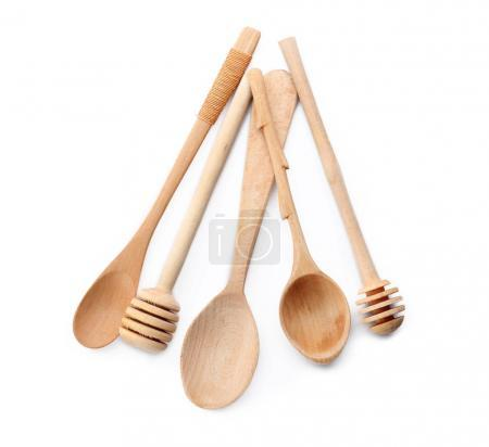 Photo for Wooden kitchen utensils on white background - Royalty Free Image
