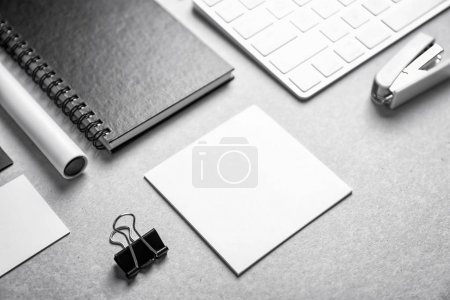 Blank items as mockups for branding on grey background