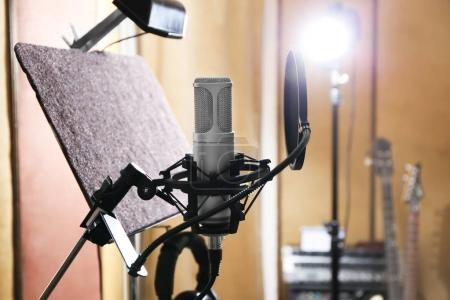 Photo for View of microphone at radio station - Royalty Free Image
