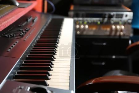 Modern synthesizer at radio station, closeup