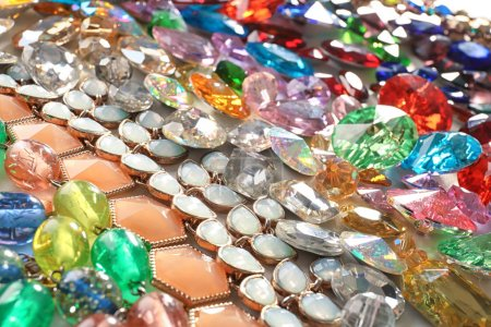 Jewellery with various colorful precious stones
