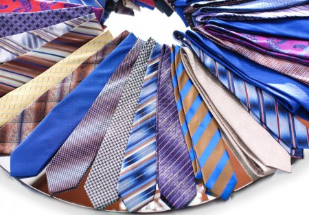 Classic neckties on shelf