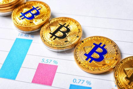 Golden bitcoins on chart, finance trading