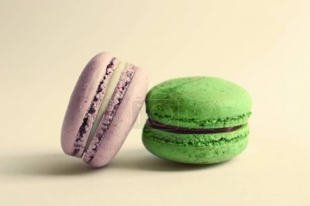 Photo for Colorful tasty macaroons on white background - Royalty Free Image