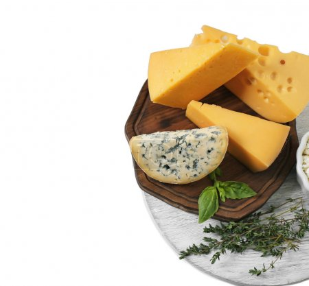 Different cheeses on white background. Fresh dairy products
