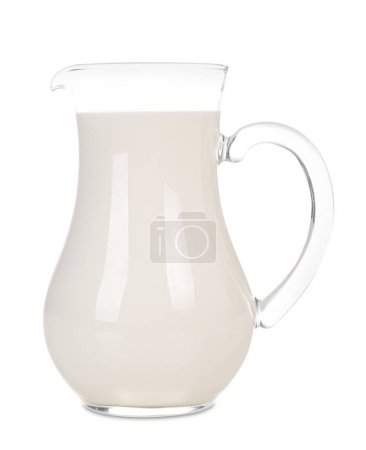 Jug of milk on white background. Fresh dairy products