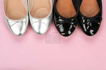 Photo for Stylish female shoes on color background - Royalty Free Image