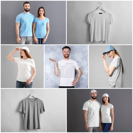 Collage with young people in stylish t-shirts
