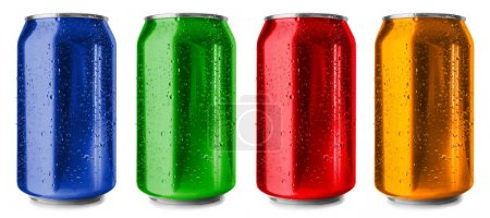Colorful cans on white