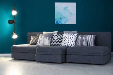 Photo for Stylish sofa in interior of living room - Royalty Free Image