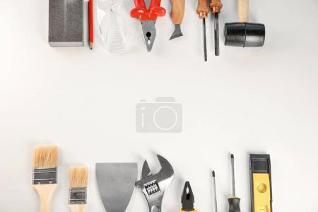 Set of tools on white background