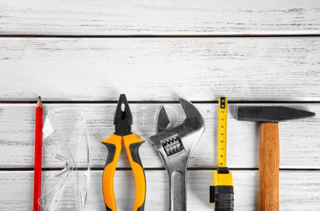 Photo for Set of tools on wooden background - Royalty Free Image