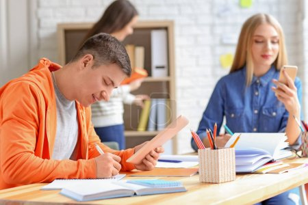 Students preparing for exam