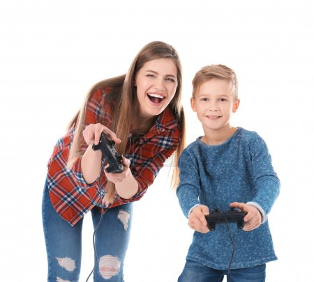 Photo for Woman and her son playing video game on white background - Royalty Free Image