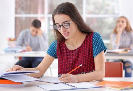 Student preparing for exam