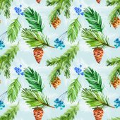 christmas seamless pattern with spruce branches and cone on blue background. watercolor style for textile, paper and wrapping