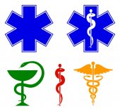 Medical international symbols set Star of life staff of Asclepius caduceus bowl with a snake Vector