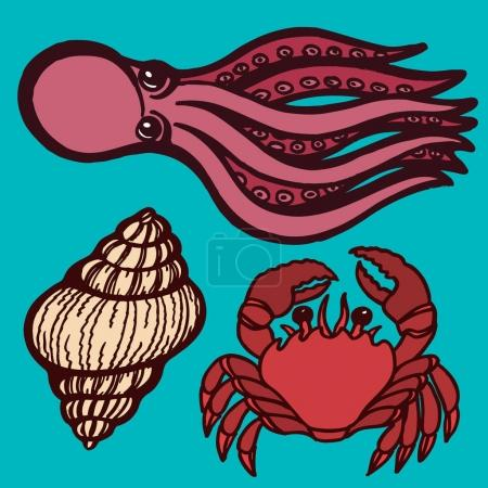 Marine inhabitants. Octopus, crab and shellfish. I...