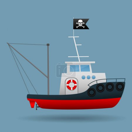 Tug boat with pirate flag raised. Vector illustrations