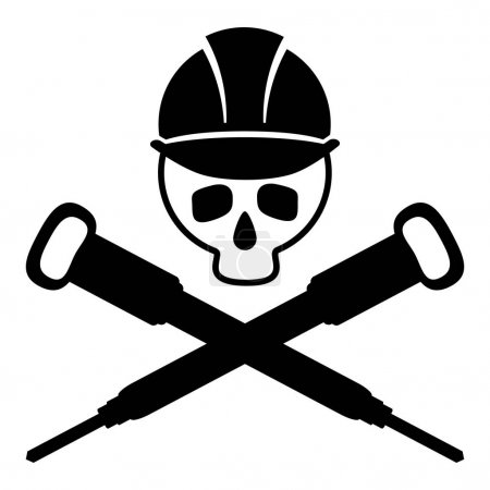 Black and white picture of the skull in the building helmet. Crossed hammers. Vector Image.