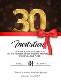 Template of invitation card to the day of the thirtieth anniversary with abstract text vector illustration To 30 th years eve card invite