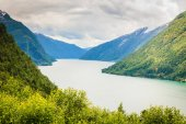 Mountains landscape and fjord in Norway