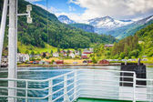 ship ferryboat on norwegian fjord