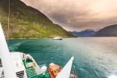 ship ferryboat on norwegian fjord