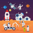 Постер, плакат: Astronauts characters set in flat cartoon style