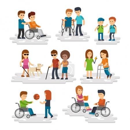 Illustration pour Personne handicapée vecteur plat. Jeunes handicapés et amis les aidant, handicapés en fauteuil roulant, aveugles avec bâton et chien-guide isolé sur fond blanc Personnes avec prothèse - image libre de droit