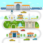 City infographic elements town vector flat illustration Railway station museum church building cinema park statue market cafe cars vector flat design Green city with landmarks and buildings