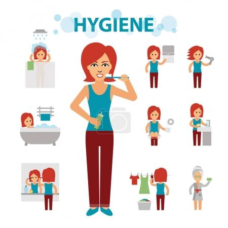 Hygiene infographic elements. Woman is busy, cleanliness, bathing, toilet, laundry, taking a bath, brushing teeth, washing hands, doing makeup.