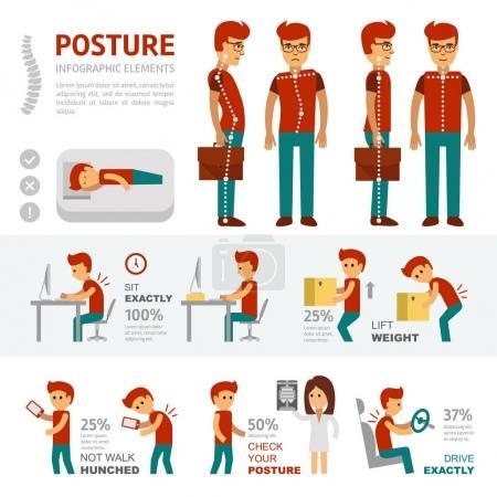 Illustration pour Eléments d'infographie posturale. Les personnes souffrant de maux de dos vont chez le médecin et traitent la scoliose. Lisser et courber la colonne vertébrale. L'homme dort sur un matelas plat - image libre de droit