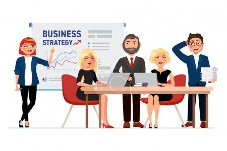 Illustration pour Ensemble de personnages de dessins animés de gens d'affaires. Chers collègues, lors de la réunion, une femme d'affaires a pointé du doigt le tableau blanc avec les tableaux de stratégie d'affaires. Collaborateurs concept vecteur plat illustration - image libre de droit