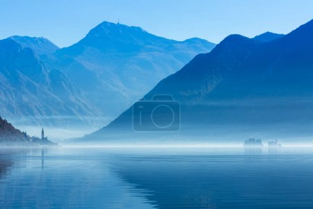Perast and islands in the fog