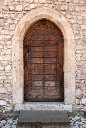 Ancient wooden arched door