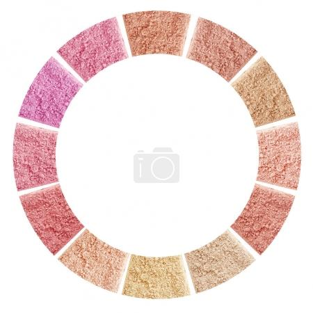 Makeup crushed powders in round isolated on white background