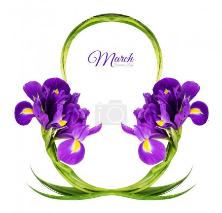 Greeting Card for International Women's Day on March 8th. Branches of iris in the form of number eight. Isolated on white background