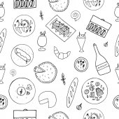Hand drawn french cuisine seamless pattern
