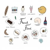 Hand drawn traditional french cuisine menu