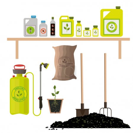 Set of agricultural and garden items for fertilizi...