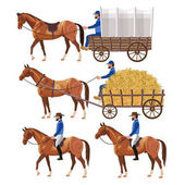 Horse carriage and riders